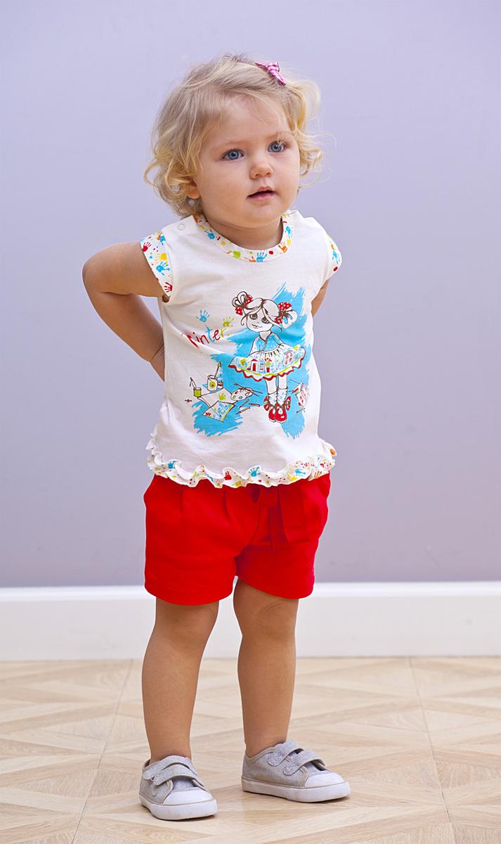 Шорты для девочки Мамуляндия, цвет: красный. 18-2014. Размер 86