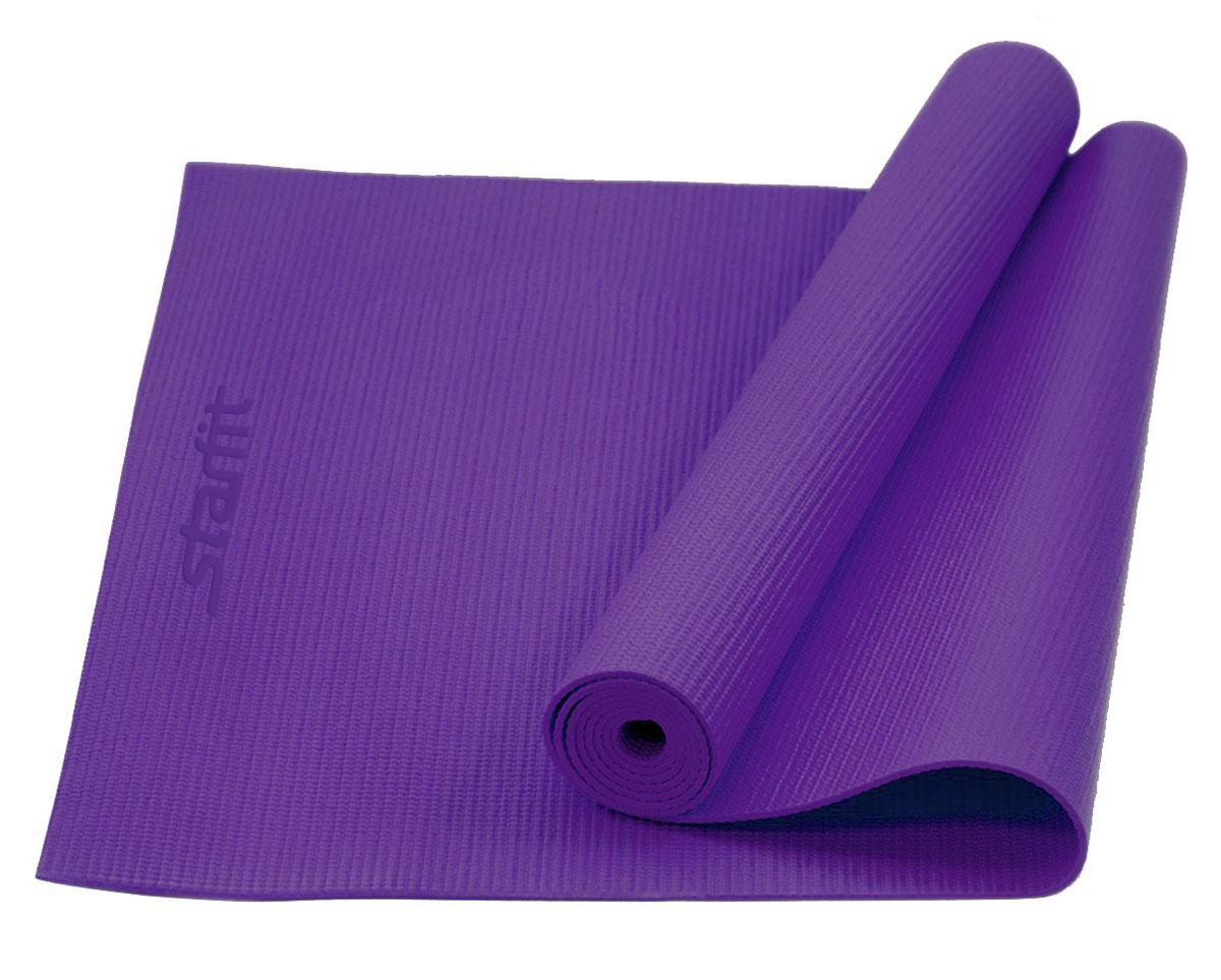 Коврик для йоги Starfit FM-101, цвет: фиолетовый, 173 х 61 х 0,6 см коврик гимнастический kettler цвет голубой 173 х 61 см