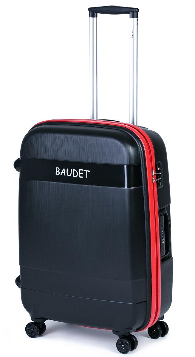 Чемодан Baudet, на колесах, цвет: черный, красный, 123,75 л чемодан baudet на колесах цвет черный красный 47 х 29 х 65 см 88 л