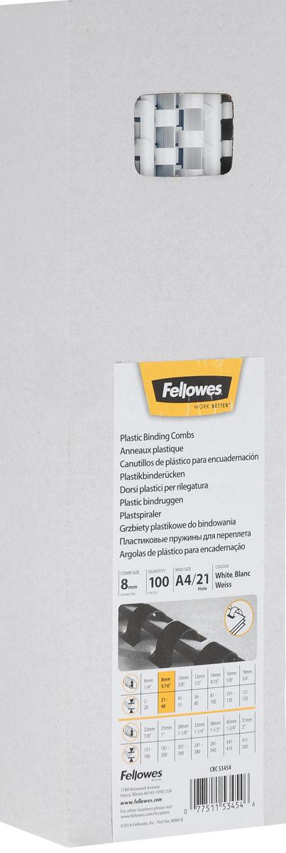 Fellowes FS-53454, White пружина для переплета, 8 мм (100 шт)FS-53454Fellowes FS-53454 - пластиковая пружина для переплета. Обладает высокой упругостью на разжим, надежно удерживает листы в переплете.Возможно многократное использование. Предназначена для переплета всех видов документов.