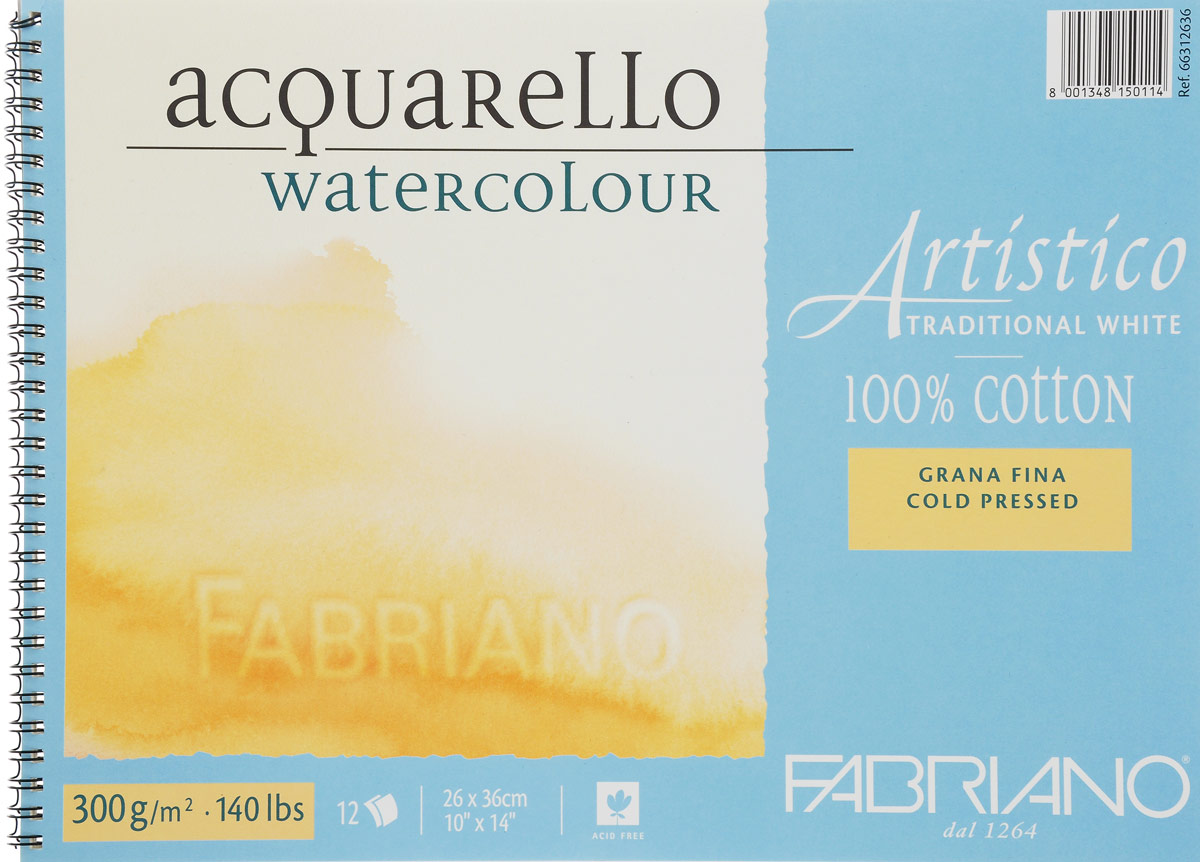 Fabriano Альбом для акварели Artistico Traditional White 12 листов 66312636 - Бумага и картон