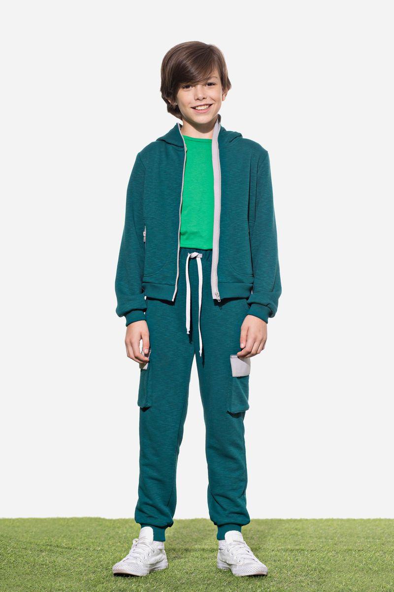 Брюки для мальчика Смена, цвет: зеленый. 18с045. Размер 146/152
