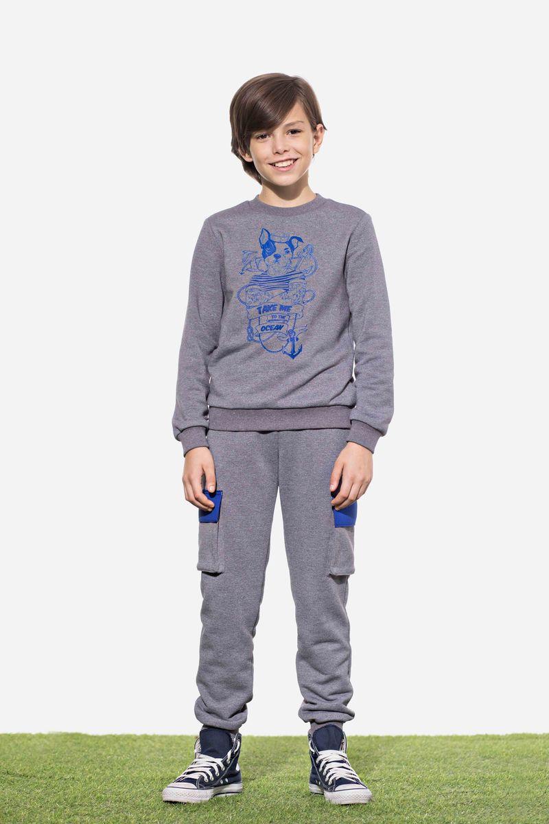 Джемпер для мальчика Смена, цвет: серый. 18с051. Размер 146/152 джемпер для мальчика s cool цвет серый белый оранжевый 363125 размер 146