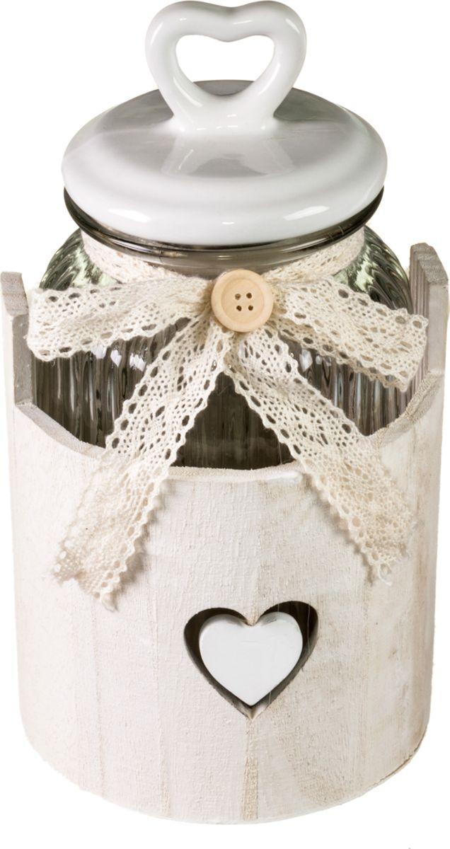 """Банка для сыпучих и жидких продуктов Miralight """"Прованс """"  и плетеная подставка в виде корзины. Такая банка подойдет для сахара, круп и многого другого. Крышка плотно прилегает к стенкам емкости.Такой набор ярко оформит интерьер вашей кухни и станет незаменимым для хранения продуктов. Характеристики: Объем банок: 1,3 лМатериал: стекло."""