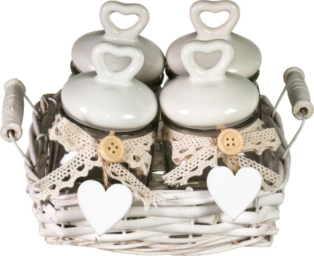 Набор банок для сыпучих и жидких продуктов Miralight Прованс , в корзине, 100 мл, 4 шт. LB-17/4 набор банок для сыпучих и жидких продуктов miralight прованс в корзине 800 мл 3 шт tp 01s 3