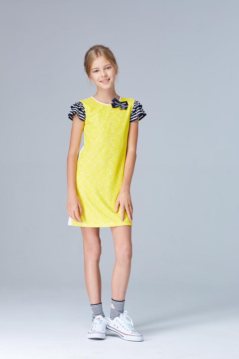 Платье для девочки Смена, цвет: желтый. 17с39. Размер 92/98 hustler платье с вырезом каплей