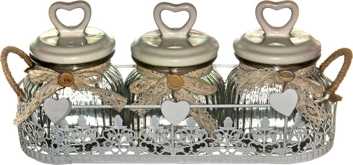 Набор банок для сыпучих и жидких продуктов Miralight Прованс , в корзине, 800 мл, 3 шт. TP-01S/3 набор емкостей miralight прованс в корзине 0 3 л 3 шт lb14 08