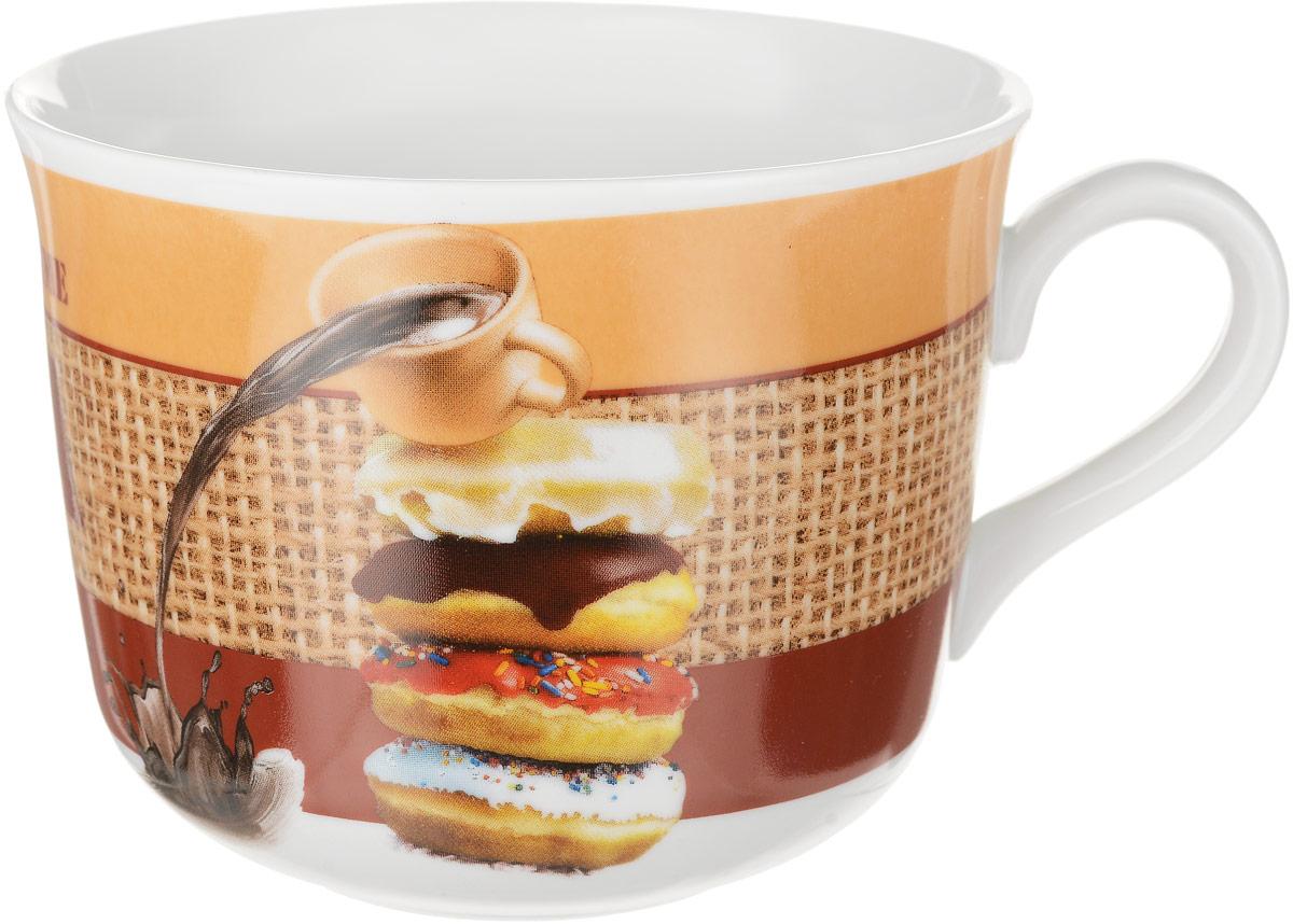 Чашка чайная Dasen Пончики, 450 млDU06570DNФарфоровая посуда производства фабрики Дулевский фарфор . Дулевский фарфор включает весь ассортимент столовой посуды: тарелки, салатники, пиалы, миски, блюда и селедочницы, чашки с блюдцами, чайники, кружки, блюдца для варенья.Декоры посуды интересны и в середине лета, и в начале осени благодаря живым краскам и удачному цветовому сочетанию. Они будут радовать глаз и снежной зимой. Посуду из Дулевского фарфора можно использовать в СВЧ и мыть в посудомоечных машинах.