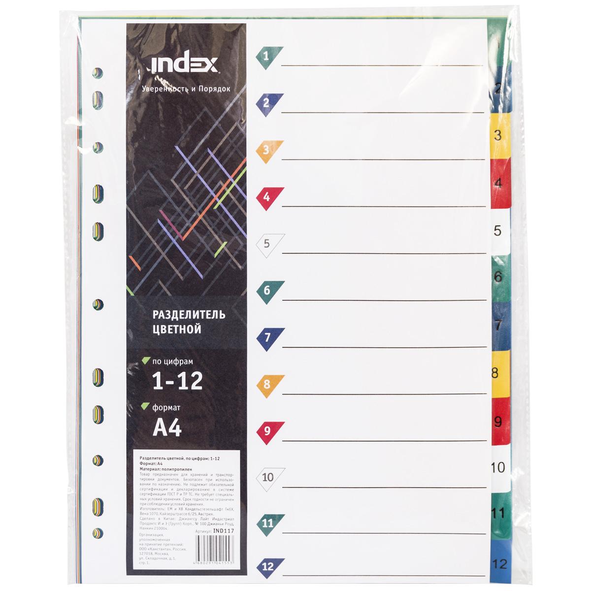 Index Разделитель цифровой 1-12 А4