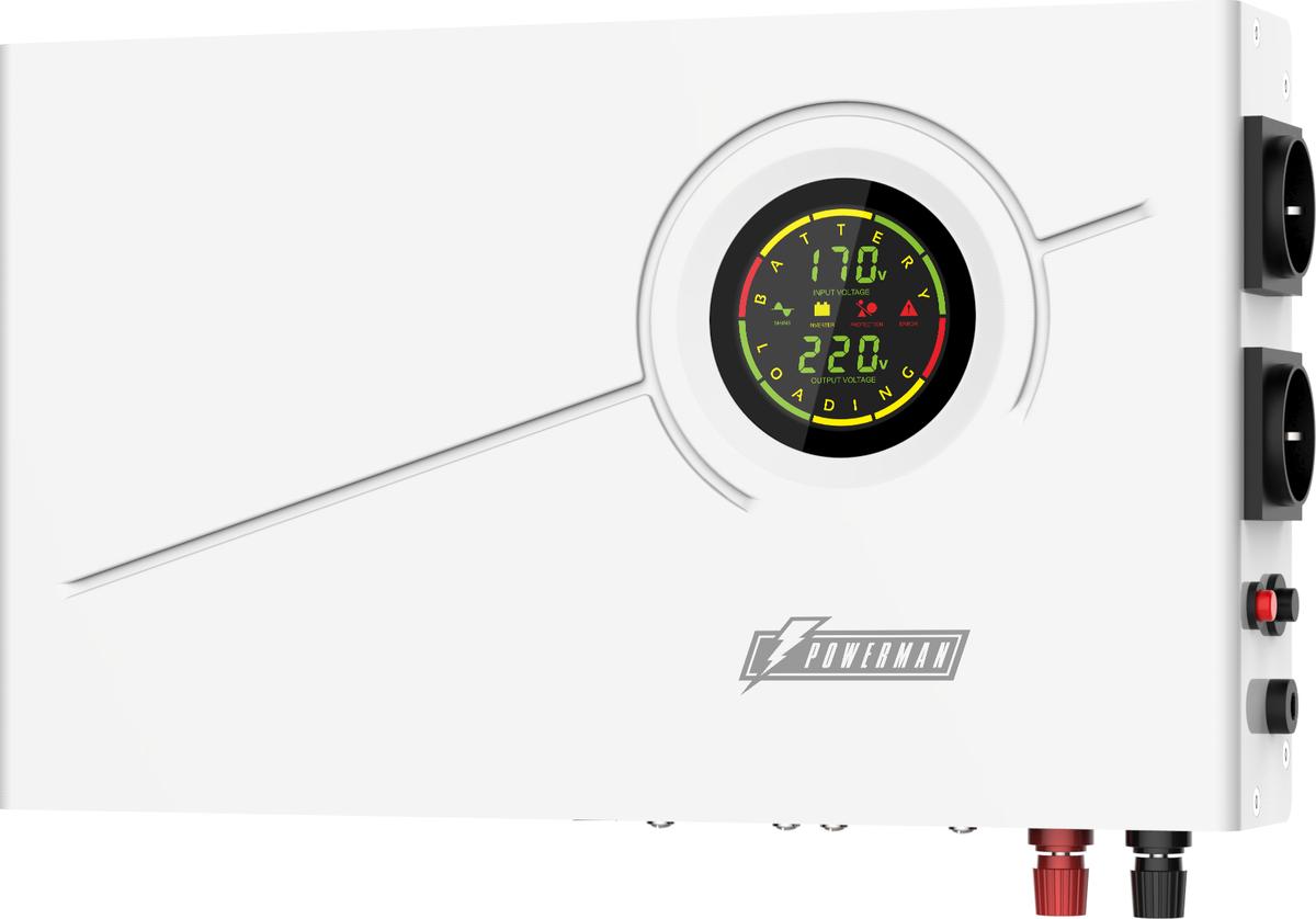 Источник бесперебойного питания Powerman Smart 800 INV, с внешними АКБ, 800 ВА6121421Источник бесперебойного питания POWERMAN SMART 800 INV - линейно-интерактивный ИБП с синусоидальной формой выходного напряжения.Стабилизирует напряжение питания оборудования при работе от сети и обеспечивает автономную работу при отключении электроэнергии за счет внешней 12В аккумуляторной батареи( не входит в комплект поставки). Выбор емкости аккумулятора зависит от мощности нагрузки и необходимого времени автономной работы. Мощное интеллектуальное зарядное устройство обеспечивает корректную работу с батареями емкостью от 18Ач до 200Ач.