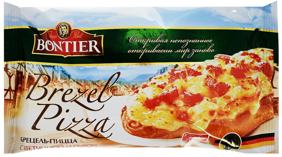 Bontier Брецель-пицца с сыром и ветчиной, 130 г4602009267758Брецель-пицца Bontier с сыром и ветчиной 130 г.Пищевая ценность в 100 г (среднее значение): белки 10 г, жиры 5,6 г, углеводы 36 г.Энергетическая ценность: 235 ккал.Размороженный продукт повторно не замораживать!Способ приготовления: извлечь брецель-пиццу из упаковки, разморозить 5-10 минут, разогреть в микроволновой печи мощностью не менее 600 Вт 1-2 минуты.