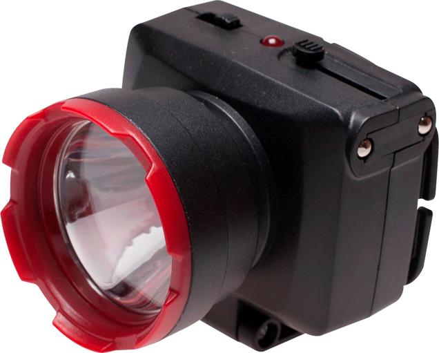 Фонарь налобный Космос KOCAccuH1WLED, аккумуляторный, цвет: черный, красный