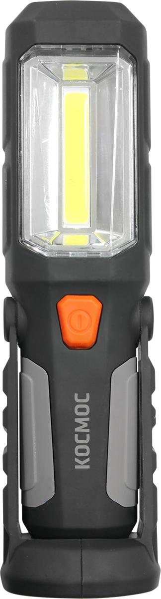 Фонарь ручной Космос KOCAu6003COB, аккумуляторный, цвет: черный, оранжевыйKOCAu6003COBСветильник заливающего света со встроенным фонариком в головной части.Имеет прорезиненный корпус. Крючок для крепления и регулируемая ножка на магнитах - для удобства крепления под любым углом.