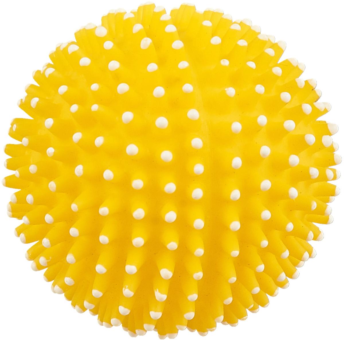 Игрушка для собак GLG Мяч игольчатый, с пищалкой, цвет: желтый, 7 см лампа галогенная philips h7 3200k vision 30% 1 шт 12972prc1