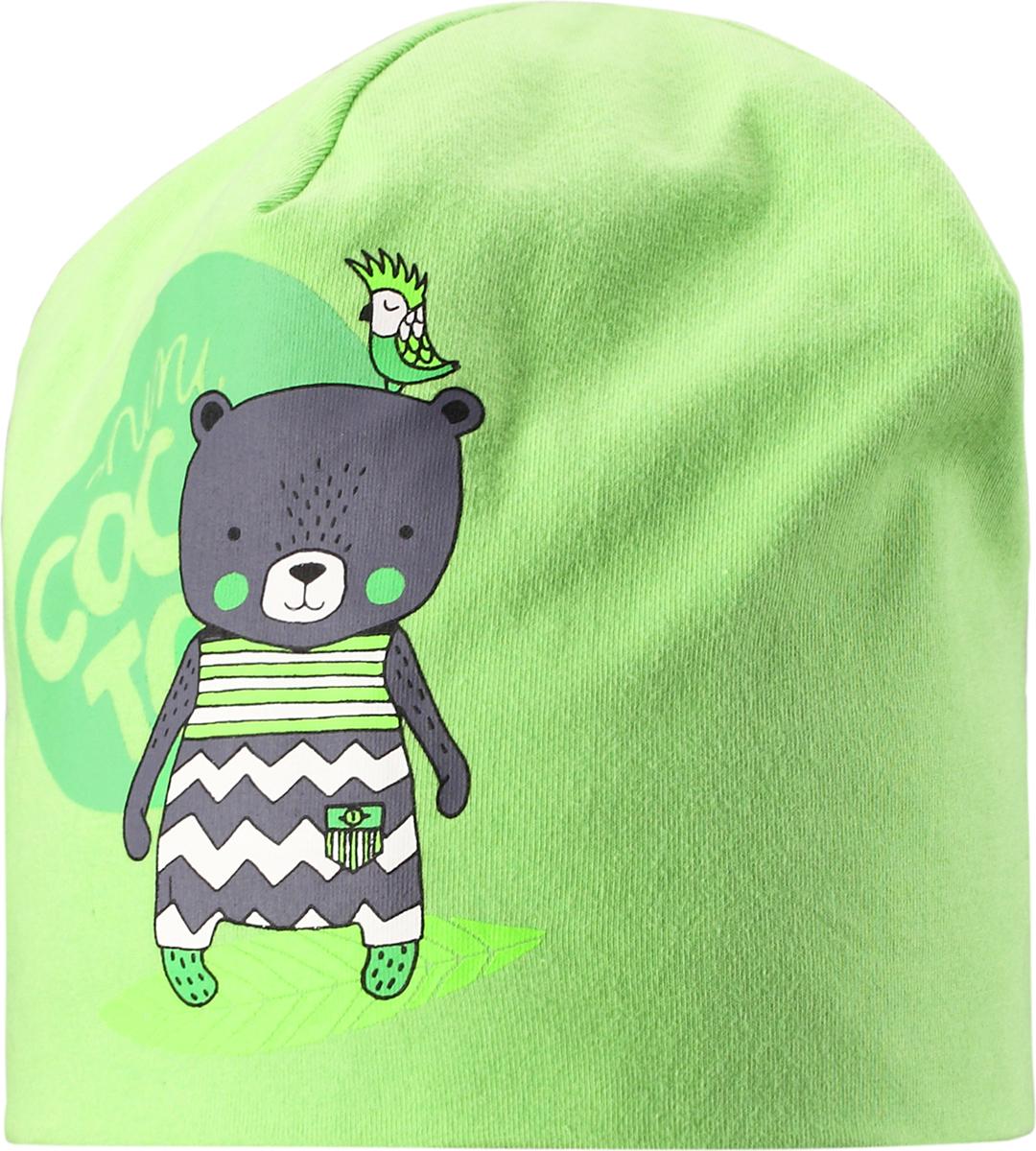 Шапка детская Lassie, цвет: зеленый. 7187398270. Размер 44/467187398270Базовая шапка для малышей с забавным рисунком в виде мишки. Шапка сделана из легкого и удобного джерси на полной трикотажной подкладке из гладкого дышащего смесового хлопка. Она снабжена рисунком сбоку и светоотражающей эмблемой на заднем шве.