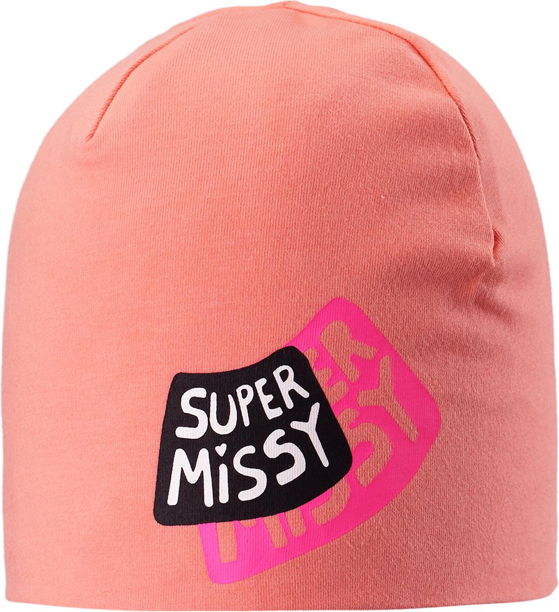 Шапка для девочки Lassie, цвет: персиковый. 7287353200. Размер 54/567287353200Классная шапка для детей в лучших сезонных расцветках! В качестве материала для верха и подкладки использован эластичный, гладкий и удивительно мягкий на ощупь хлопковый джерси.