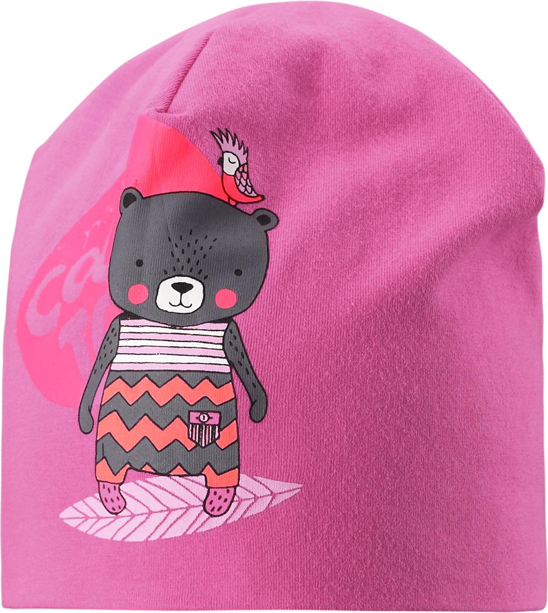Шапка для девочки Lassie, цвет: розовый. 7187394400. Размер 46/487187394400Классная шапка для девочки на прохладную погоду! В качестве материала для верха и подкладки использован гладкий и удивительно мягкий на ощупь хлопковый джерси.