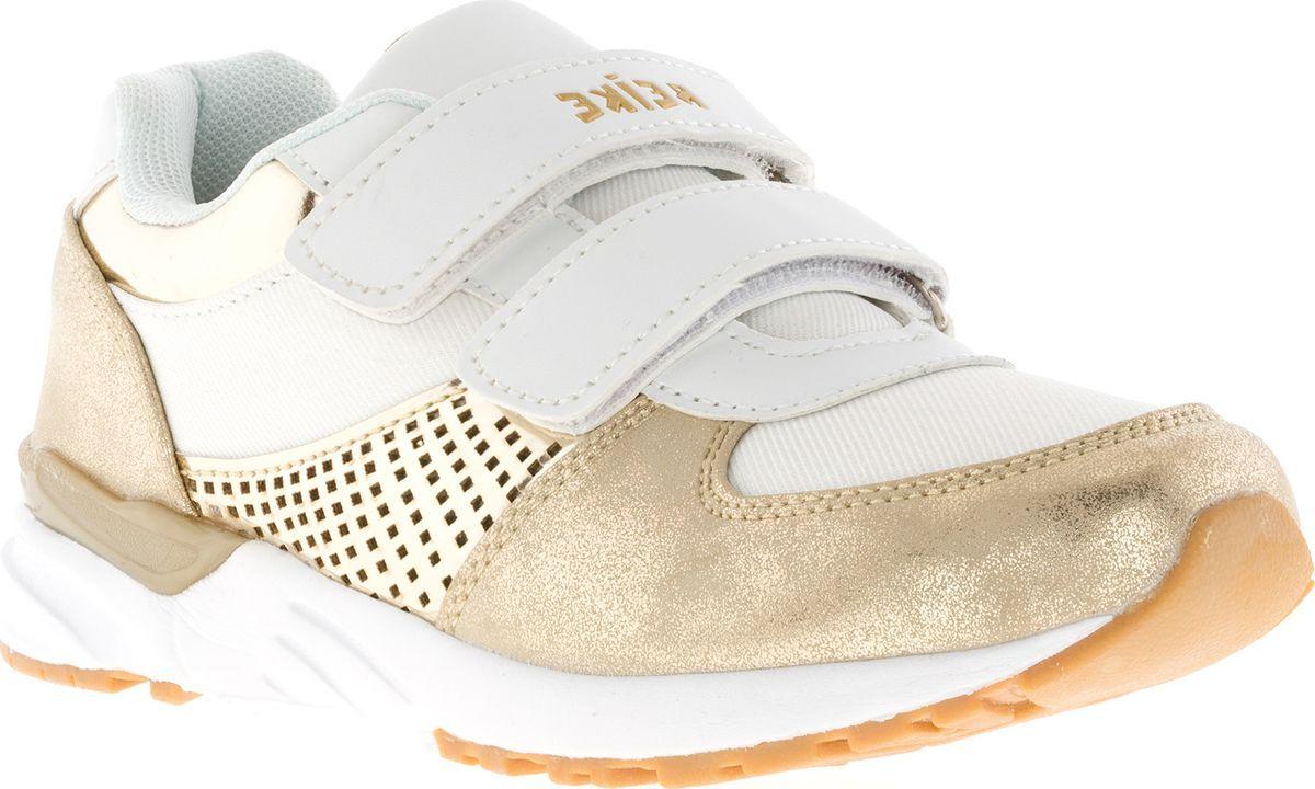 Кроссовки для девочки Reike, цвет: золотой, белый. RST18-036. Размер 33RST18-036 bs goldСтильные кроссовки Reike придутся по душе вашему ребенку. Кроссовки, выполненные из искусственной кожи и текстиля, оформлены прострочкой, перфорацией и на ремешке тиснением в виде логотипа бренда. Ремешки с липучкой надежно фиксируют обувь на ноге. Подкладка и стелька из мягкого текстиля комфортны при ходьбе. Рифление на подошве обеспечивает идеальное сцепление с любыми поверхностями. Эффектные кроссовки необходимая вещь в гардеробе каждого ребенка.