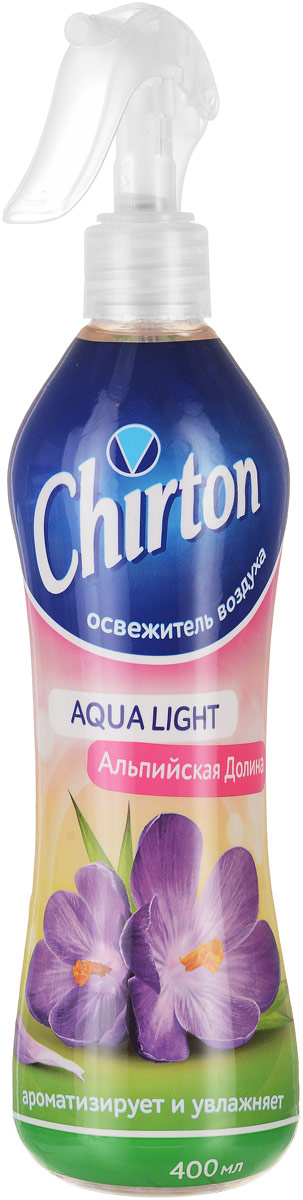 """Освежитель воздуха Chirton """"Альпийская долина"""" из серии """"Aqua Light"""" предназначен для  устранения неприятных запахов и ароматизации воздуха в жилых помещениях, в ванных и  туалетных комнатах или в салоне автомобиля.  Высокое качество освежителя позволит быстро избавиться от неприятных запахов в любом  уголке вашего дома, наполняя его неповторимым ароматом.  Товар сертифицирован. Уважаемые клиенты!  Обращаем ваше внимание на возможные изменения в дизайне упаковки. Качественные характеристики товара  остаются неизменными. Поставка осуществляется в зависимости от наличия на складе."""