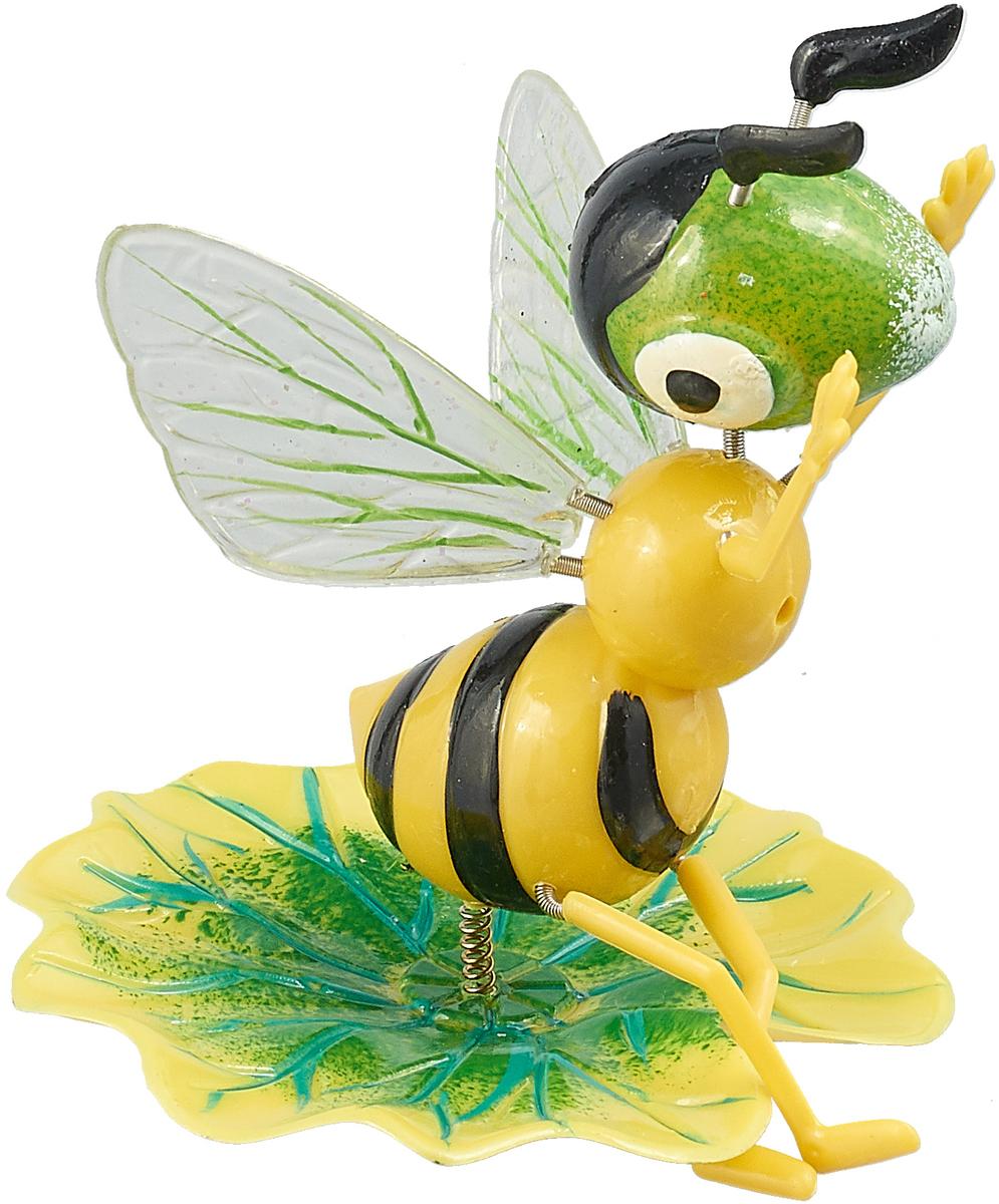 Украшение декоративное садовое Оса на листочке, цвет: желтый, зеленый, 14 х 9 х 60 см1003622_желтый, зеленыйУкрашение декоративное садовое Оса на листочке, цвет: желтый, зеленый, 14 х 9 х 60 см