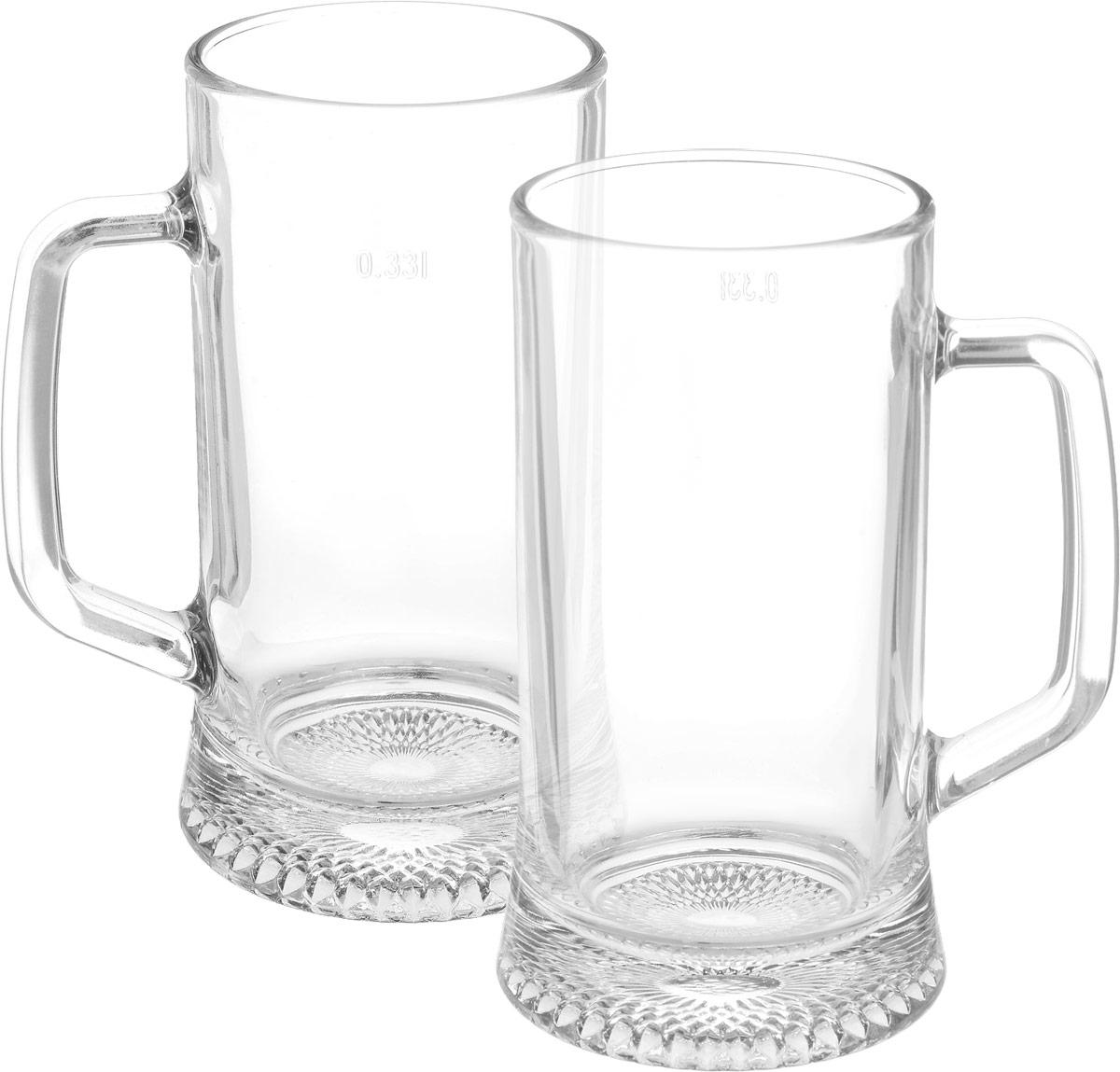 Набор состоит из двух кружек, предназначенных для пива, которые изготовлены из ударопрочного стекла. Можно мыть в посудомоечной машине. Объем кружки: 330 мл.  УВАЖАЕМЫЕ КЛИЕНТЫ!  Обращаем ваше внимание на возможные изменения в дизайне товара. Поставка осуществляется в зависимости от наличия на складе.