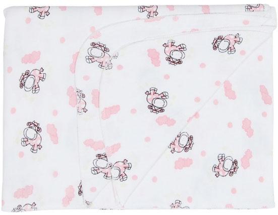Пеленка детская Трон-Плюс, цвет: белый с розовыми коровками, 120 см х 90 см пеленка трикотажная трон плюс цвет розовый 120 см х 90 см