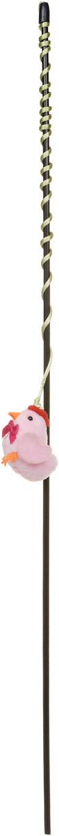 Игрушка-дразнилка для кошек GLG Курица, длина 60 см игрушка дразнилка для кошек glg страус на резинке 4 см