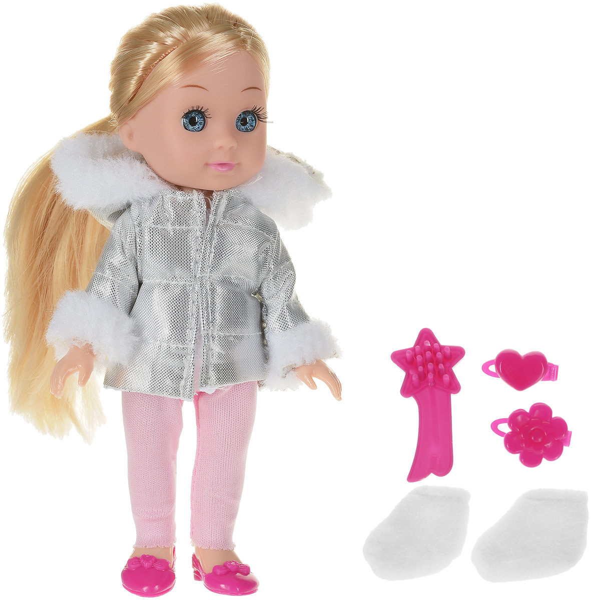 Карапуз Кукла озвученная Машенька в зимней одежде с аксессурами цвет серебристый розовый карапуз кукла рапунцель со светящимся амулетом 37 см со звуком принцессы дисней карапуз