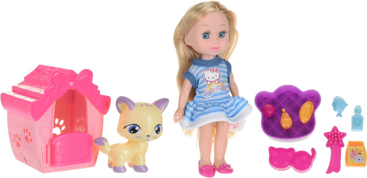 Фото Карапуз Кукла Hello Kitty Машенька с питомцем_кошка и аксессуарами цвет голубой розовый