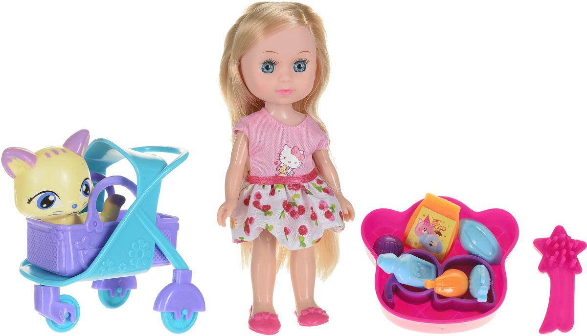Карапуз Кукла Hello Kitty Машенька с питомцем_кошка в коляске цвет розовый белый куклы карапуз кукла карапуз принцесса рапунцель 25 см