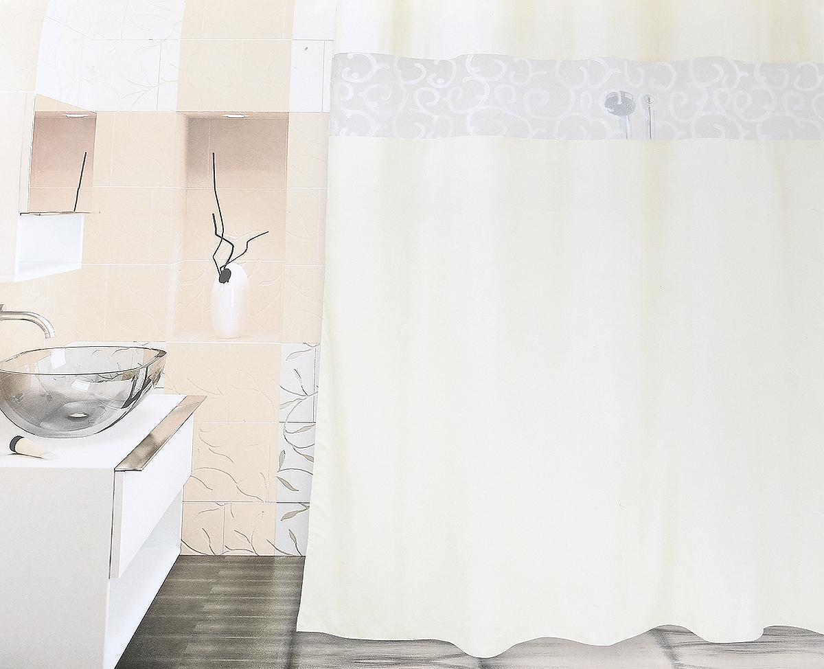 Декоративная вставка из органзы пропускает свет и делает ванную комнату светлее. В нижний край шторы вшита специальная утяжеляющая полоска. Полотно шторы пропитано водоотталкивающим составом с двух сторон. Занавеска снабжена 10-ю пластиковыми люверсами с внутренним диаметром 37 мм, что позволяет закрепить ее непосредственно на карниз.