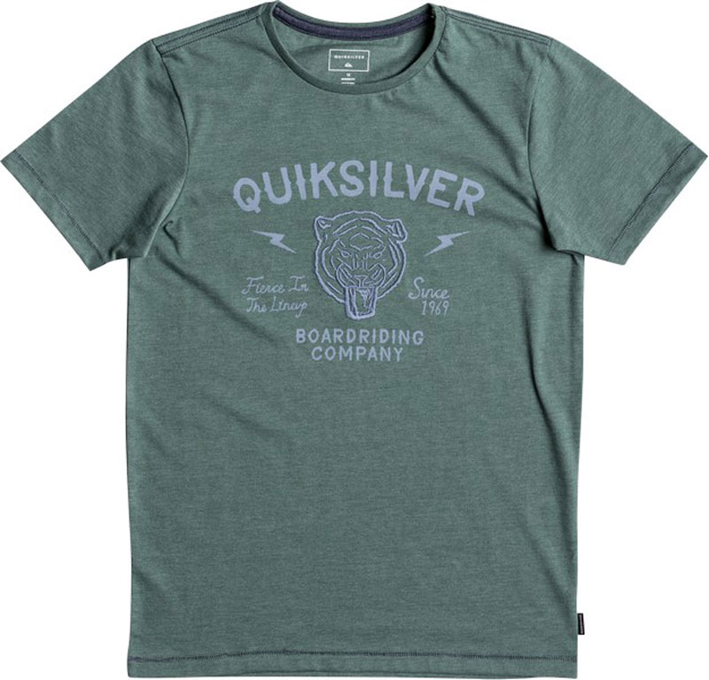 Футболка для мальчика Quiksilver Heather Oldcat Vibes, цвет: зеленый. EQBZT03694-BKWH. Размер 164/170 футболка quiksilver heatherewetpalm athletic heather