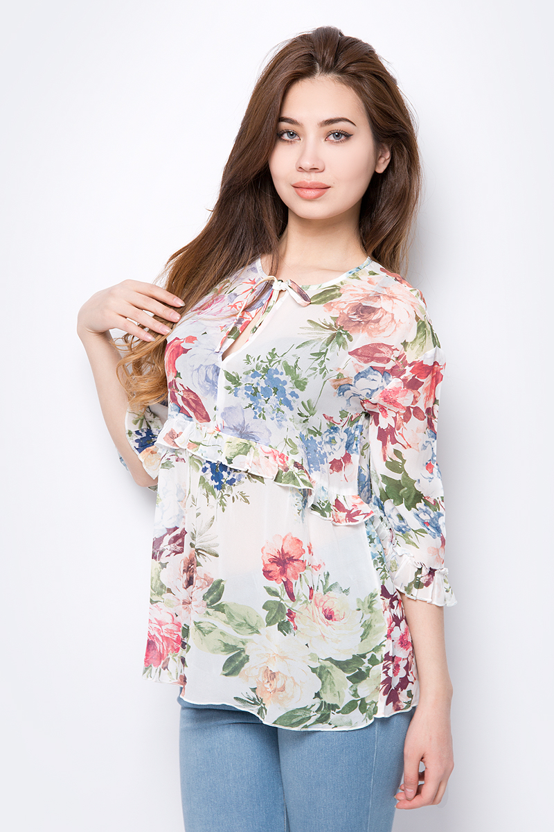Блузка женская United Colors of Benetton, цвет: белый. 5YY45Q933_68Z. Размер S (42/44) платье united colors of benetton цвет черный 3mf2v1f55 100 размер s 42 44