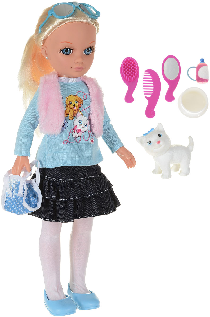 Карапуз Кукла озвученная с питомцем_кошка и набором аксессуаров цвет голубой синий