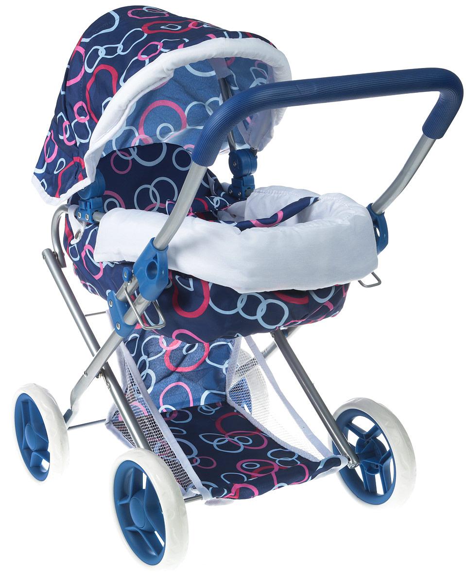 1toy Транспорт для кукол Коляска-люлька цвет синий Т57326 1toy транспорт для кукол коляска цвет синий