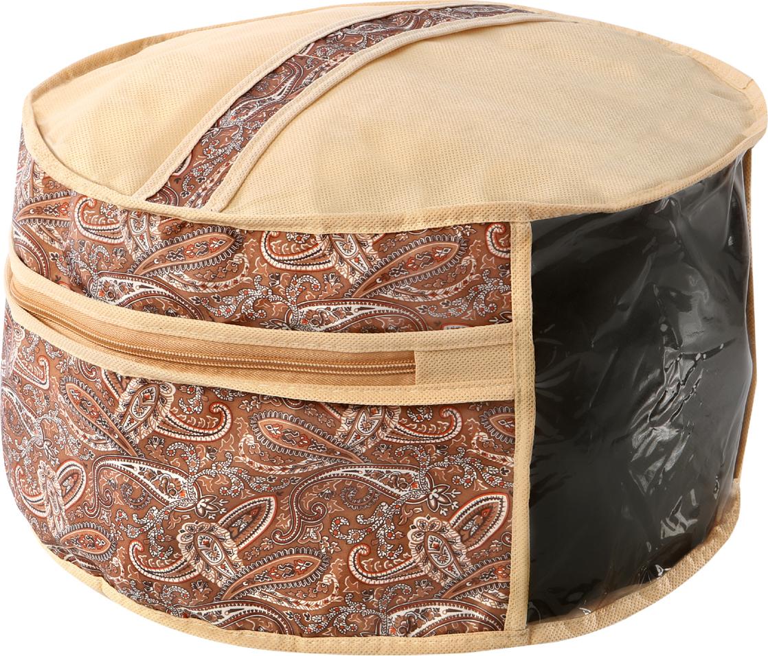 Чехол для головных уборов Cofret Русский шик, 35 x 25 см1216Чехол поможет сохранить хорошее состояние и внешний вид головного убора. Круглый чехол застегивается на молнию и имеет удобную верхнюю ручку, и небольшое прозрачное окошко.