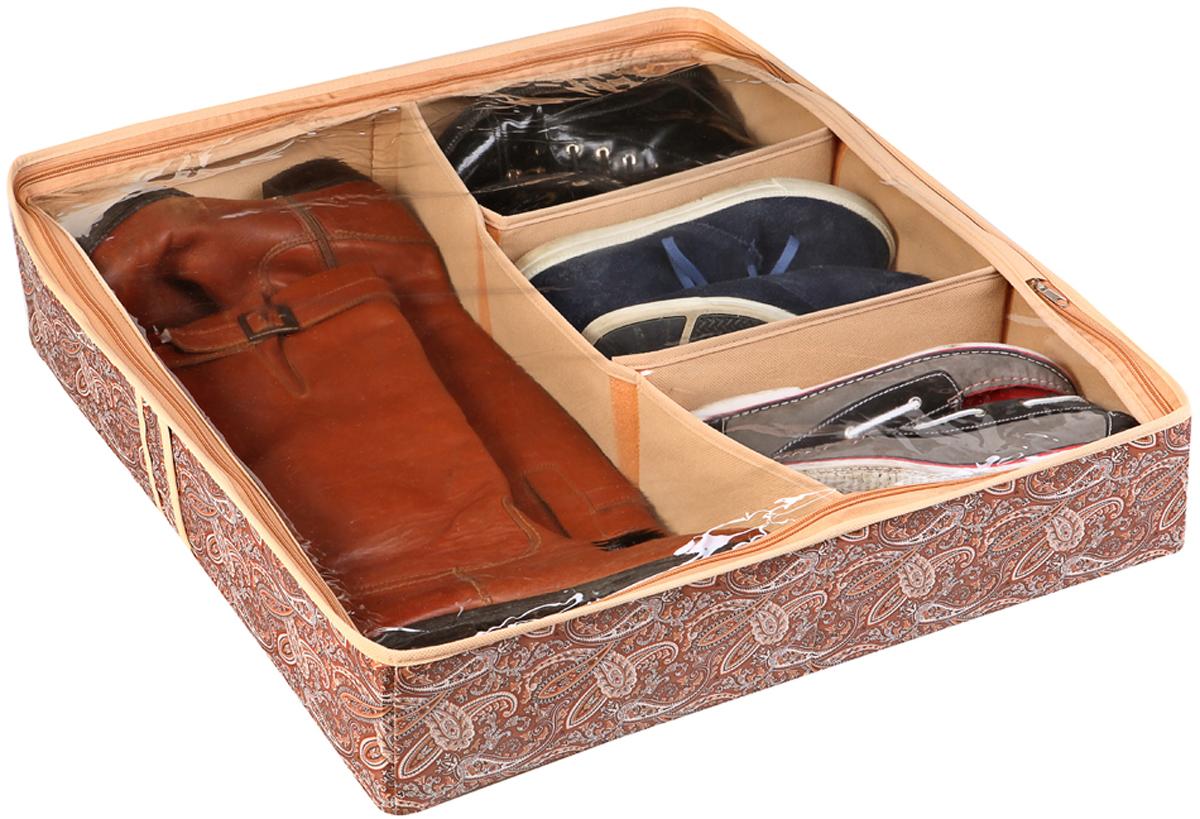 """Если вы задумаетесь о том, куда компактно убрать обувь. Для этих целей прекрасно подойдет """"Короб для обуви, на 6 ячеек"""". Кофр жесткий, высотой 12 см, закрывается на молнию, рассчитан на шесть пар обуви. Для удобства верх кофра сделан из прозрачной плотной пленки, так что вы быстро найдете нужную пару обуви. Перегородки жесткие, на липучках (съемные), поэтому можете складывать любую обувь, что очень удобно. К тому же Ваша обувь будет защищена от пыли. Красиво и приятно, когда в доме """"дизайнерский"""" порядок, и всё это сделано вашими стараниями!"""