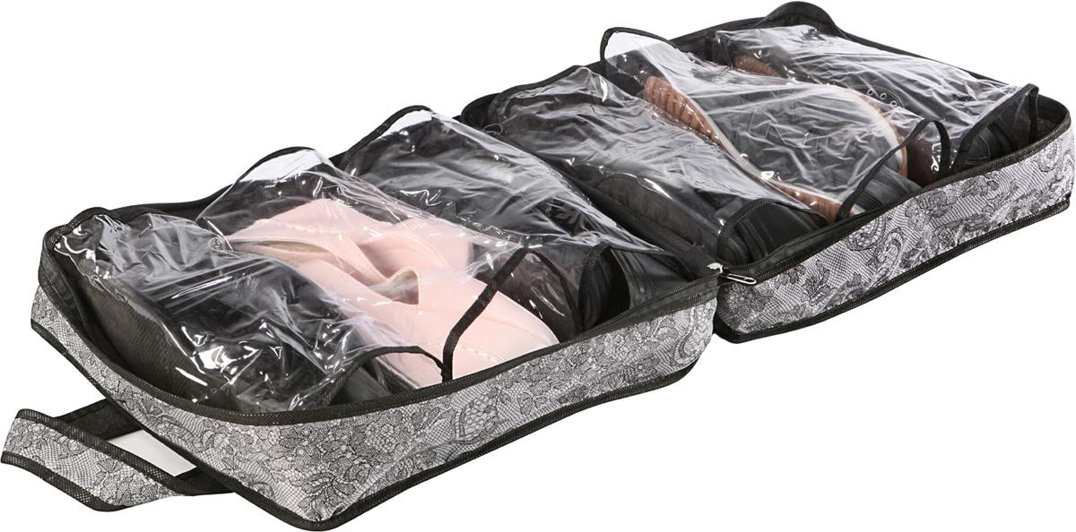 Комфортная, универсальная вещь, которую вы давно искали! Чемоданчик, рассчитанный на шесть пар летней обуви (мужские и женские туфли, кеды, мокасины, босоножки, сланцы). Смело можете брать чемоданчик с собой в дорогу, так как он застегивается на молнию, имеет две прочные ручки. Ваша любимая обувь будет надежно защищена от пыли, грязи и не потеряется случайным образом. Комфортно, удобно, красиво!