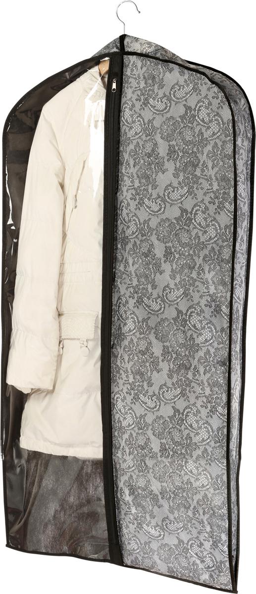 Чехол для одежды Cofret Ажур, объемный 130 x 60 x 10 см218Функциональный чехол для костюма убережет вашу одежду от запыления. Пиджак удобно располагается на вешалке, а брюки подвешиваются во всю длину, не складываясь. Чехол для костюма не займет много места. Он наполовину прозрачный, наполовину выполнен из ткани, застегивается на молнию. Расширенная вставка в верхней части чехла и увеличенная длина уберегает пиджак и брюки от замятий, поэтому лучшего решения для хранения пиджака и брюк во всегда отглаженном состоянии вам не найти!