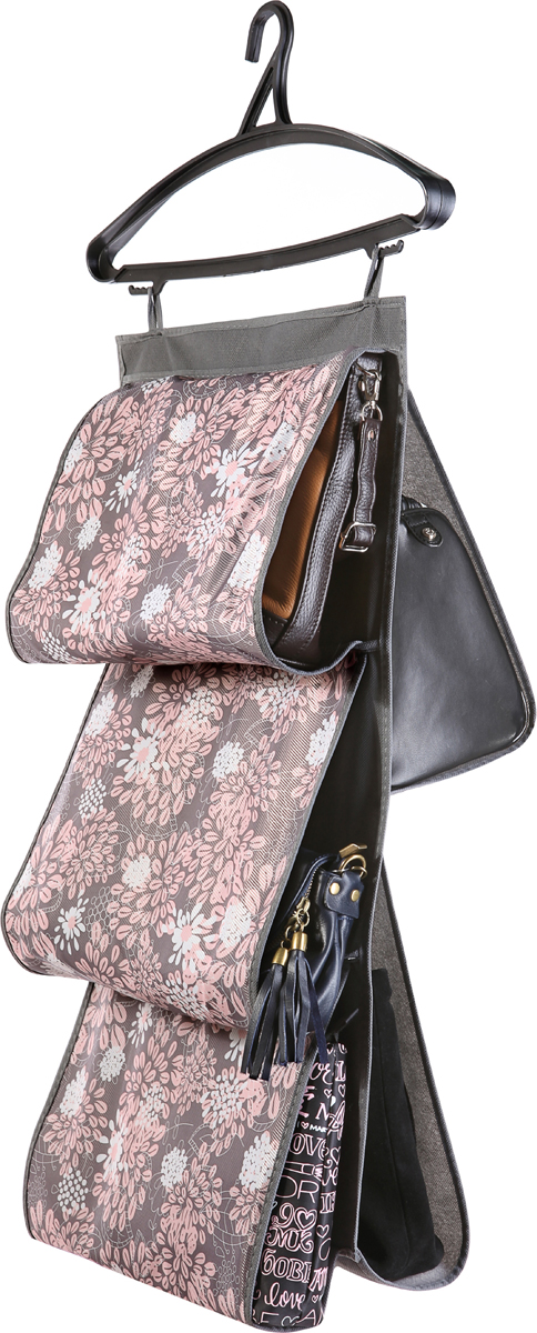 В шкафу всегда будет порядок, так как Органайзер для сумок не только очень компактен, но и, несмотря на свои размеры, вмещает множество вещей. Пять карманов, расположенных с двух сторон, позволят вам удобно разместить свои сумочки, полотенца, зонтики и многое другое в легкодоступном месте.