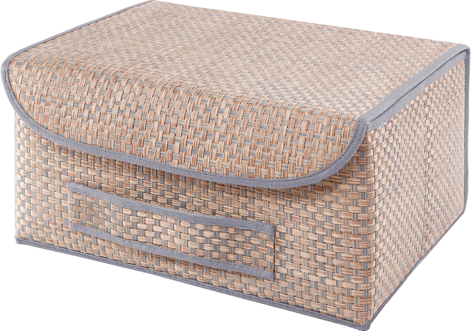 Универсальная коробка с крышкой для хранения одежды, аксессуаров, предметов домашнего обихода. Коробка обладает прочным каркасом из полипропилена, но при этом легко складывается и раскладывается. Внешняя сторона из текстилена, а подкладка - спанбонд. Эти материалы не впитывают влагу, хорошо пропускают воздух и при этом защищают от пыли.