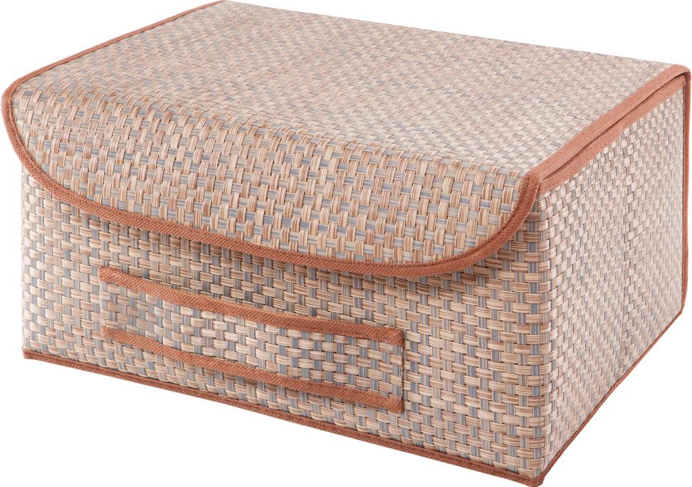 Коробка для хранения вещей Casy Home, с крышкой, цвет: бежевый, 35 x 28 x 18 смBO-022Универсальная коробка с крышкой для хранения одежды, аксессуаров, предметов домашнего обихода. Коробка обладает прочным каркасом из полипропилена, но при этом легко складывается и раскладывается. Внешняя сторона из текстилена, а подкладка - спанбонд. Эти материалы не впитывают влагу, хорошо пропускают воздух и при этом защищают от пыли.