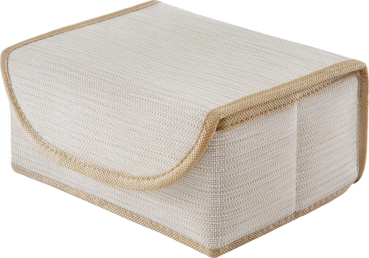 Коробка для хранения вещей Casy Home, с крышкой, цвет: светло-бежевый, 23 x 17 x 10 смBO-053Универсальная коробка с крышкой для хранения одежды, аксессуаров, предметов домашнего обихода. Коробка обладает прочным каркасом из полипропилена, но при этом легко складывается и раскладывается. Внешняя сторона из текстилена, а подкладка - спанбонд. Эти материалы не впитывают влагу, хорошо пропускают воздух и при этом защищают от пыли.