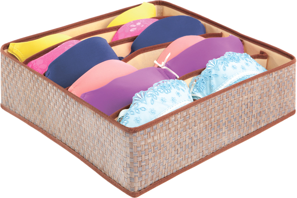 Органайзер для бюстгалтеров Casy Home, 6 ячеек, цвет: бежевый, 35 х 35 х 10 смOR-042Изделие устойчиво к внешнему воздействию. Каркас (вставки) сделаны из ячеистого полипропилена, что делает изделие легким и прочным, устойчивым к деформации и достаточно гибким. С внутренней стороны использован нетканый материал - спанбонд, что обеспечивает циркуляцию воздуха, предохраняет от пыли, плесени и моли. Легко собирается и складывается.