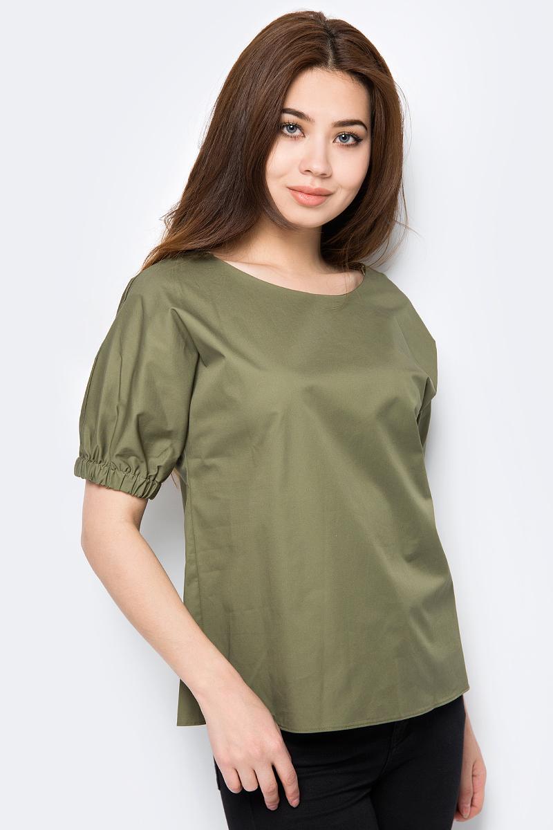Блузка женская adL, цвет: зеленый. 11533602000_034. Размер M (44/46)11533602000_034Женская блузка от adL выполнена из натурального хлопка. Модель с короткими рукавами и круглым вырезом горловины. Рукава по низу присборены на эластичные резинки.
