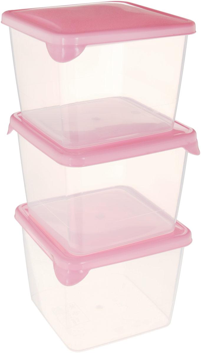 """Комплект емкостей для продуктов Giaretti """"Браво"""", прозрачный, розовый, 750 мл, 3 шт"""