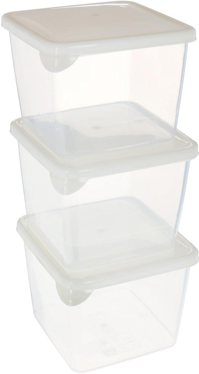 """Комплект емкостей для продуктов Giaretti """"Браво"""", цвет: прозрачный, молочный, 750 мл, 3 шт"""