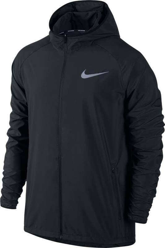 Ветровка мужская Nike Essential Hooded Running Jacket, цвет: черный. 856892-010. Размер L (50/52)856892-010Легкая и водонепроницаемая мужская беговая ветровка Nike Essential Hooded обеспечивает защиту и комфорт благодаря специальному капюшону, вентиляционному разрезу на спине и удобному карману для медиаустройства. Водоотталкивающее покрытие защищает от суровой погоды. Плотно прилегающий капюшон защищает от холода, не ограничивая обзор. Внутренний карман из сетки для удобного хранения медиаустройства. Заворачивающиеся эластичные манжеты из мягкой ткани для надежной плотной посадки во время бега. Фиксаторы шнурков на кромке и задней стороне капюшона для регулируемой посадки. Заниженная сзади нижняя кромка для дополнительной защиты. Разрезы на спине и груди усиливают циркуляцию воздуха.