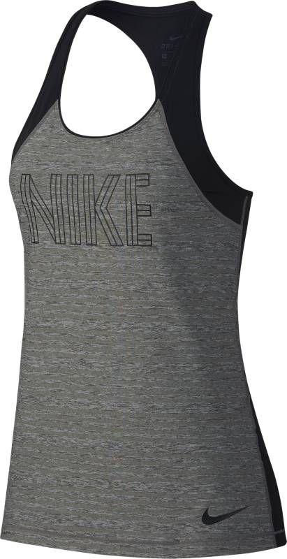 Майка женская Nike Pro Tank, цвет: серый, черный. AH2275-091. Размер L (48/50)AH2275-091Женская майка Nike Pro выполнена из мягкой ткани на основе джерси с влагоотводящей технологией, обеспечивающей комфорт. Технология Dri-FIT обеспечивает вентиляцию и комфорт. Сетчатые вставки на спине и в области плеч обеспечивают воздухопроницаемость. Т-образная спина обеспечивает свободу движений. Слегка удлиненная сзади нижняя кромка для дополнительной защиты. Круглая горловина для удобной посадки. Ткань с эффектом меланжа и надпись NIKE для стильного образа.