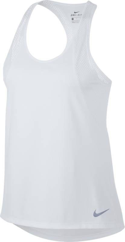 Майка женская Nike Running Tank, цвет: белый. 890351-100. Размер M (46/48)890351-100Женская беговая майка Nike с Т-образной спиной из дышащей сетчатой ткани дарит приятное ощущение прохлады и комфорт на любой дистанции. Трикотажная сетка обеспечивает воздухопроницаемость и охлаждение. Т-образная спина обеспечивает свободу движений. Облегающий крой не отвлекает от спорта. Технология Dri-FIT отводит влагу с поверхности кожи, обеспечивая комфорт. Горловина с вырезом «лодочка» для комфортной посадки. Удлиненная сзади нижняя кромка для защиты поясницы.